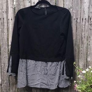 Zara | Black and White Striped Top